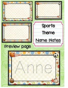 Sports Theme 2 for 1 Team labels and Name Plates