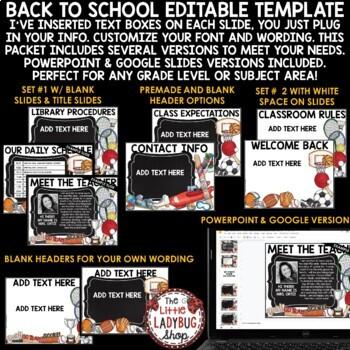 Sports Theme Back To School PowerPoint - Meet The Teacher Template Editable