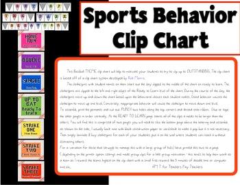 Sports Theme (Baseball) Behavior Clip Chart