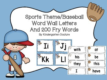 Sports (Baseball) Word Wall and 200 Fry Words