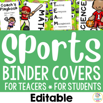 Sports Theme:  Binder Covers (Editable)
