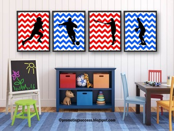 Red White and Blue Sports Theme Classroom Decor BUNDLE, Sport Posters