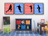 Red White and Blue Chevron Posters, Sports Theme Classroom Decor