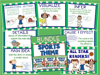 Sports Theme Bundle - Decor, Reading Posters, & Binder Covers