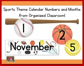 Sports Theme Calendar Months and Numbers