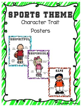 Sports Theme Character Trait Posters - Respectful, Responsible, Safe