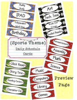 Sports Theme Class Daily Schedule Labels