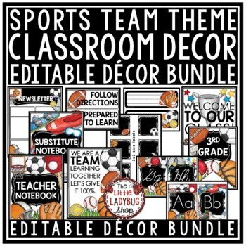 Sports Theme Classroom Decor - Editable