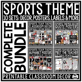 Sports Theme Classroom Decor - Editable