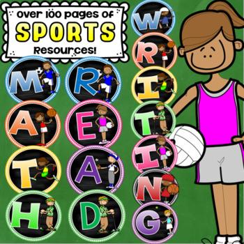 Sports Theme Class Decor Bundle (Behavior Chart, Name Plates, Labels, Signs)