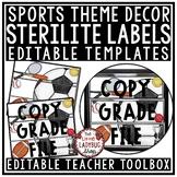 Sports Theme Classroom- Mailbox Labels 3 Drawer Sterilite Labels Editable