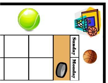 Sports Calendar! Sports Bulletin Board! Sports Theme! Spor
