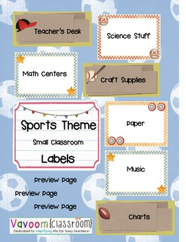 Sports Theme Classroom Labels
