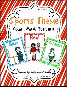 Sports Theme Color Words Poster