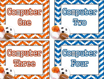 Sports Theme - Computer Number Labels