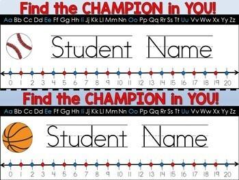 Name Tags (Editable to Type Student Names) Sports Theme Classroom Decor