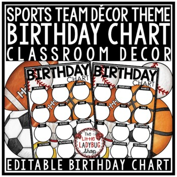 photograph relating to Birthday Chart Printable referred to as Sports activities Topic: Editable Birthday Chart Printable
