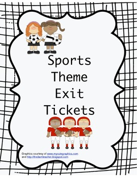Sports Theme Exit Tickets