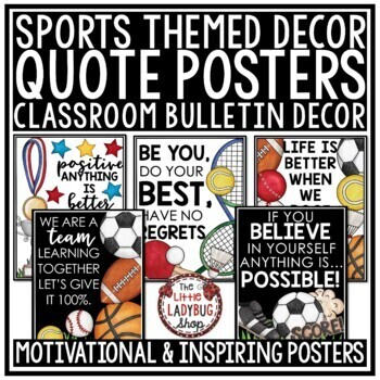 Inspirational Quotes Posters Sports Theme Classroom Decor Motivational