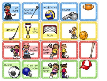 Sports Theme Location Cards