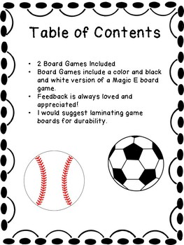 Sports Theme Magic E Board Game- Color and B&W