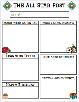 Sports Theme Newsletter and Homework Templates