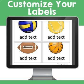 Sports Theme:  Organization Cards & Labels (Editable)