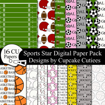 Sports Theme Paper Pack - Digital Paper Pack
