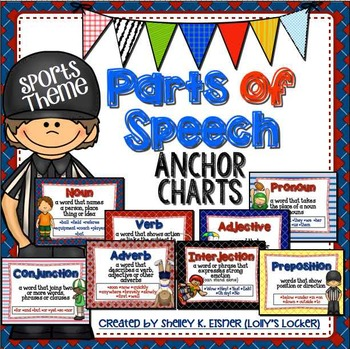 Sports Theme Parts of Speech Anchor Charts