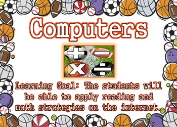 Sports Theme - Reading and Math Center Posters with Learni