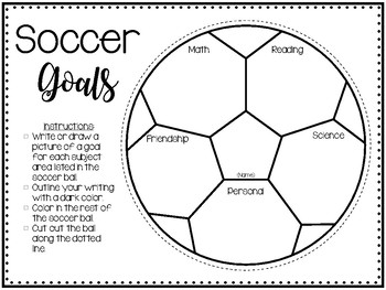 "Sports Theme Soccer ""Goals"" Banner and Goal Making Activity"