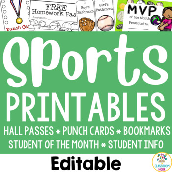 Sports Theme:  Student Essentials (punch cards, HW pass, hall passes and more!)