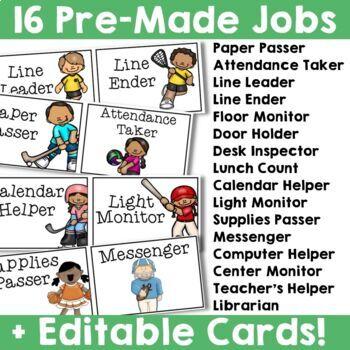 Sports Theme:  Student Job Chart (Editable)