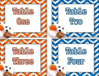 Sports Theme - Table Number Labels
