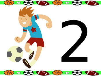 Sports Theme Table Numbers 1-6