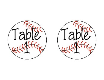 Sports Theme Table Signs -UPDATED