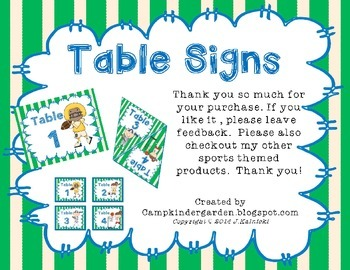 Sports Theme - Table Signs