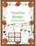 Teacher Organizational Binder 2018-2019 Sports Theme