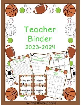 Teacher Organizational Binder 2016-2017 Sports Theme