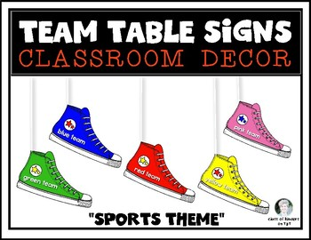 Sports Theme Decor {Team Table Signs} Sneakers