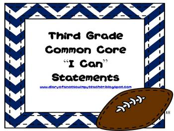 """Sports Theme Third Grade Common Core """"I Can"""" Statements"""