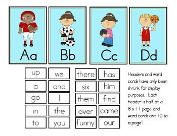 Sports Theme Word Wall Headers and Sight Words