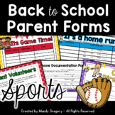 Sports Themed Back to School Parent Forms