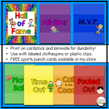 Sports Themed Behavior Chart - 7 sections