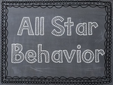 Sports Themed Behavior Clip Chart - Chevron/Chalkboard Frames - Reverse Colors