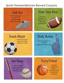 Sports Themed Behavior Reward Coupons