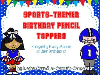 Sports-Themed Birthday Pencil Topper