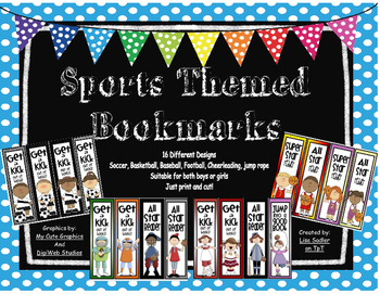 Sports Themed Bookmarks - 16 Designs