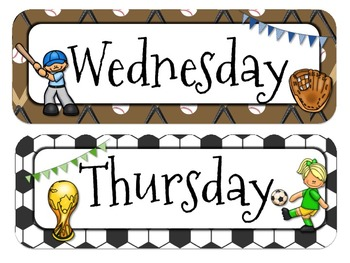 Sports Themed Calendar Headers l Months and Days of the Week