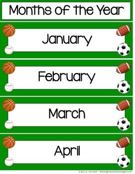 Sports-Themed Calendar Kit